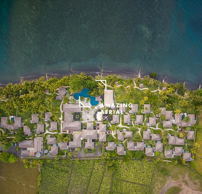 BULULENG, BALI - OCTOBER 2016: Aerial view of Puri Bagus Lovina Resort, Bali.