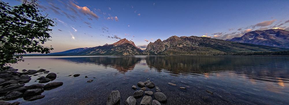 Panoramic view of Jenny Lake at Sunrise