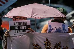April 17, 2018 - Manila, Philippines - Protesters call for the release of Australian nun Sister Patricia Fox at the Bureau of Immigration in Manila, Philippines on Tuesday. April 17, 2018. Fox was detained for engaging in political activities and anti-government demonstrations. She was later released for further investigation after establishing valid missionary documents. (Credit Image: © Basilio H. Sepe via ZUMA Wire)