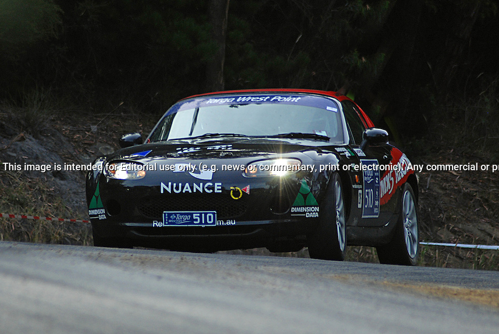 510 Geoff Kennedy & Kelly Handley..2008 Mazda MX5.Day 1.Targa Wrest Point 2010.Southern Tasmania.30th of January 2010.(C) Sarah Biggin.Use information: This image is intended for Editorial use only (e.g. news or commentary, print or electronic). Any commercial or promotional use requires additional clearance.