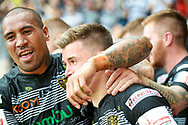 Hull FC full back Jamie Shaul (1) scores a try and celebrates  during the Challenge Cup 2017 semi final match between Hull RFC and Leeds Rhinos at the Keepmoat Stadium, Doncaster, England on 29 July 2017. Photo by Simon Davies.