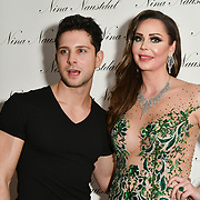 Oliver Smiles and Nina Naustdal attend Nina Naustdal catwalk show SS19/20 collection by The London School of Beauty & Make-up at Bagatelle on 26 Feb 2019, London, UK.