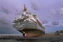 """BLANKENBERGE, BELGIUM - NOVEMBER 9, 2001 -  Workers from the salvage company Unie Van Redding - En Sleepdienst N.V. secure the damaged rudder on the German cargo ship """"Heinrich Behrmann"""", which was beached by heavy seas after losing power to the main engine late Thursday night at Blankenberge. The ship was heading for the port at Zeebrugge from Ireland, and was carrying dry cargo, none of which was hazardous. Unie Van Redding - En Sleepdienst N.V. was hired to free the ship. Three unsuccessful attempts were made Friday, the second attempt resulted in the injury of two workers when tug boat cables snapped. The beached ship has attracted the attention of curious tourists. (Photo © Jock Fistick)"""