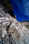 Hiking in the Pozza Tramontana, Dolomites, Italy.