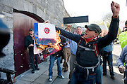 Labour conference booklet set alight by protester at the Labour conference at NUIG.Photo:Andrew Downes.