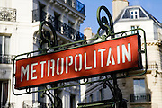 Metropolitain sign in centre of Paris, France