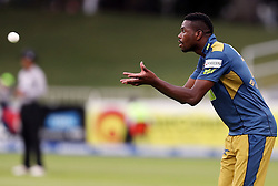 Mbulelo Budaza of the VKB Knights during the T20 Challenge cricket match between the Hollywoodbets Dolphins and VKB Knights  at the Kingsmead stadium in Durban, KwaZulu Natal, South Africa on the 11 Dec 2016<br /> <br /> Photo by:   Steve Haag / Real Time Images