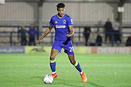 AFC Wimbledon defender Toby Sibbick (20) dribbling during the EFL Trophy match between AFC Wimbledon and Tottenham Hotspur at the Cherry Red Records Stadium, Kingston, England on 3 October 2017. Photo by Matthew Redman.