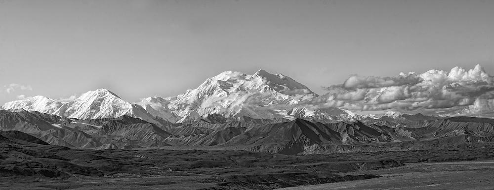 Black and white panorama of Denali and surrounding peaks.