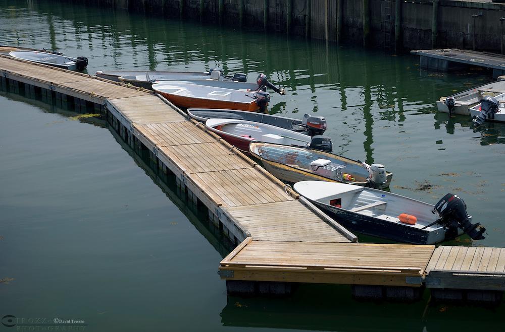 Small boats at dock, Stonington, Maine, USA.