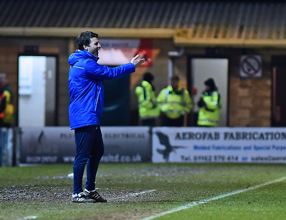 Lincoln City manager Danny Cowley shouts instructions to his team from the technical area<br /> <br /> Photographer Andrew Vaughan/CameraSport<br /> <br /> The EFL Sky Bet League Two - Lincoln City v Cheltenham Town - Tuesday 13th February 2018 - Sincil Bank - Lincoln<br /> <br /> World Copyright © 2018 CameraSport. All rights reserved. 43 Linden Ave. Countesthorpe. Leicester. England. LE8 5PG - Tel: +44 (0) 116 277 4147 - admin@camerasport.com - www.camerasport.com