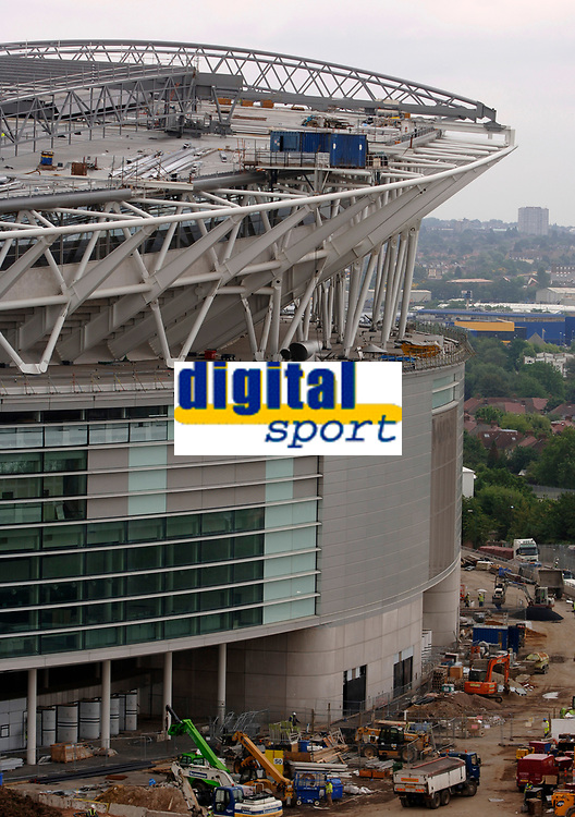 Photo: Daniel Hambury.<br /> Wembley Stadium. 14/06/2006.<br /> A detail of the new home of English football, Wembley, seen from the roof of the nearby Ibis hotel.