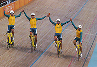 Australian Team Pursuit, winners of the Gold Medal, celebrate victory. Cycling, Athens Olympics, 23/08/2004. Credit: Colorsport / Matthew Impey DIGITAL FILE ONLY