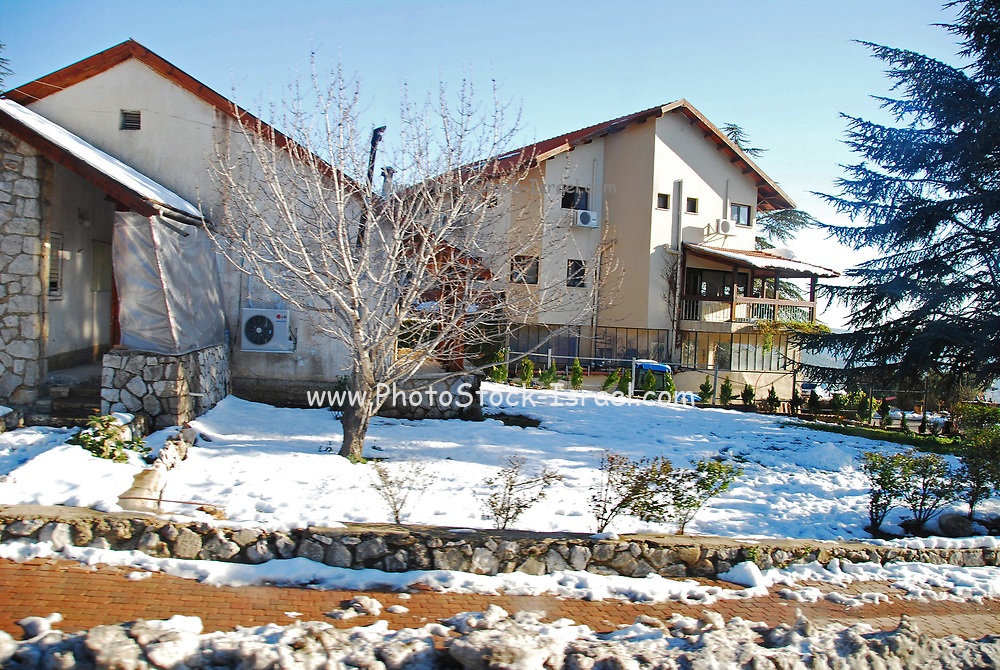 Israel, Golan Heights, Neve Ativ a small Alpine-styled Israeli settlement (moshav), founded in 1972, and located on the slopes of Mount Hermon