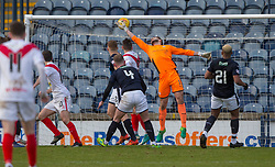 Raith Rovers keeper Aaron Lennox can't stop Airdrie's Dale Carrick (10) scoring their goal. half time : Raith Rovers 0 v 1 Airdrie, Scottish Football League Division One game played 10/2/2018 at Stark's Park, Kirkcaldy.