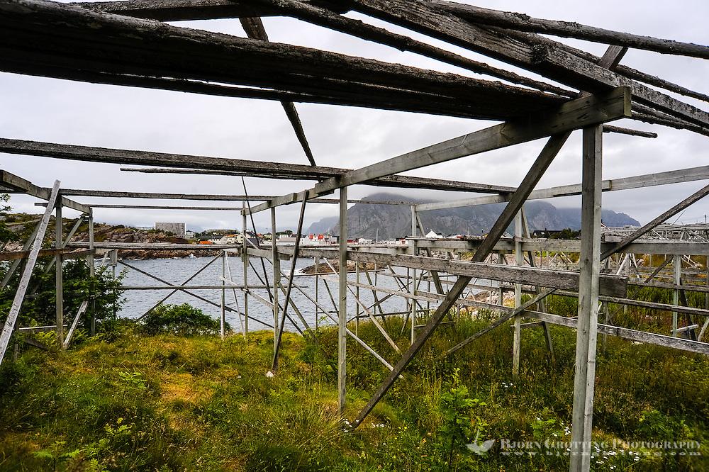 Norway, Lofoten. Henningsvær is a fishing village on the southern tip of Austvågøya. Area for drying of fish.