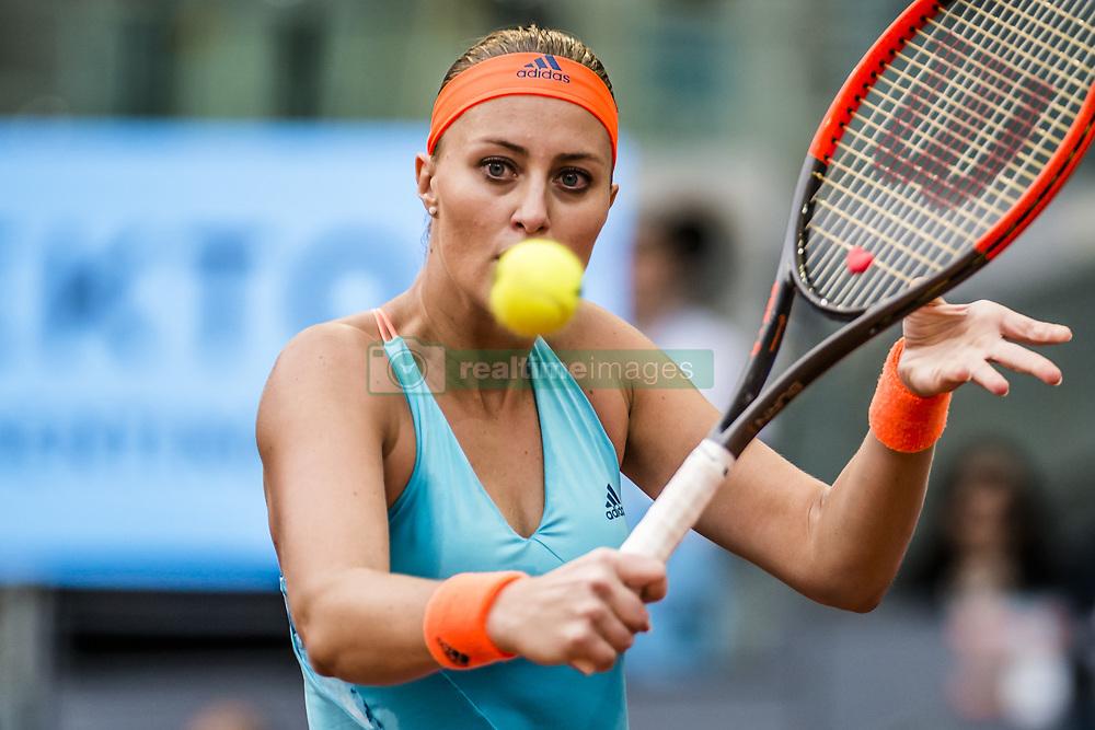 May 13, 2017 - Madrid, Madrid, Spain - KRISTINA MLADENOVIC (FRA) returns the ball to Simona Halep (ROU) in the final of the 'Mutua Madrid Open' 2017. Halep won 7:5, 6:7, 6:2 (Credit Image: © Matthias Oesterle via ZUMA Wire)