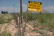 Poison gas warning sign in the Permian Basin in West Texas where the hydraulic fracturing industry is booming.