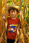 Image of a young boy standing in a corn field in Waitsburg, Washington, Pacific Northwest, Palouse, model released by Randy Wells