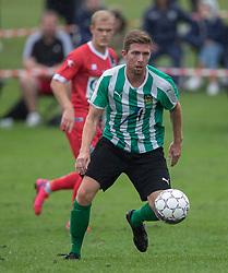 Simon Ibdal (Bispebjerg Boldklub) under kampen i Sydbank Pokalen, 1. runde, mellem Bispebjerg Boldklub og FC Helsingør den 2. september 2020 i Lersø Parken (Foto: Claus Birch).