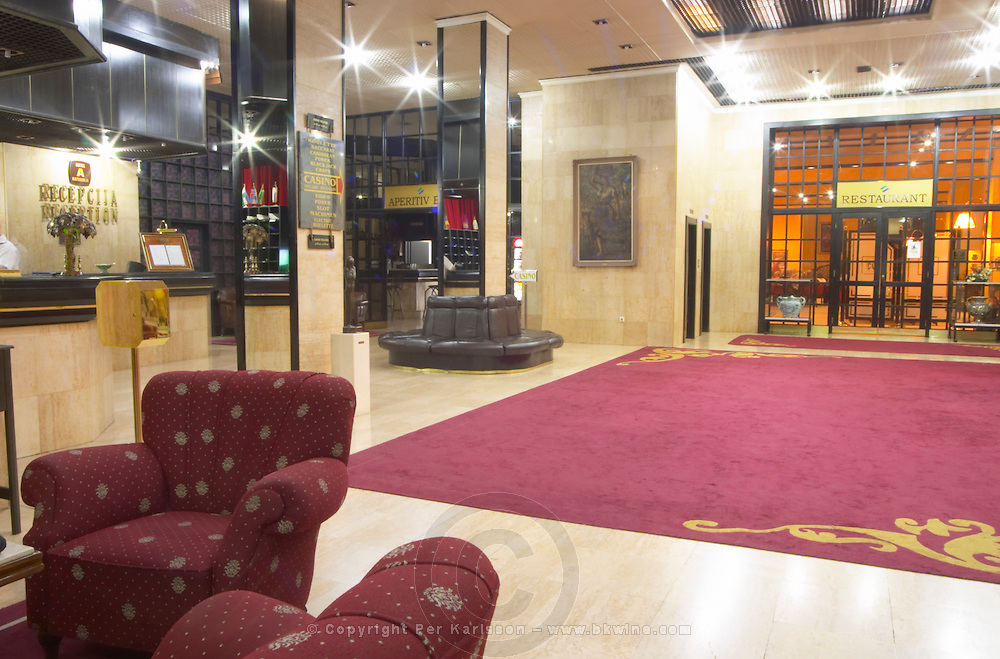 The lobby and reception at the Hotel Crna Gora built and decorated in old fashioned eastern European style. Podgorica capital. Montenegro, Balkan, Europe.