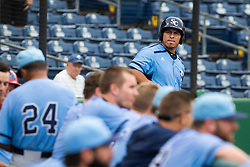 June 5, 2017 - St. Petersburg, Florida, U.S. - WILL VRAGOVIC       Times.Charlotte Stone Crabs catcher Wilson Ramos (36) looks across the dugout from the on deck circle in the first inning of the game between the Charlotte Stone Crabs and the Clearwater Threshers at Spectrum Field in Clearwater, Fla. on Monday, June 6, 2017. (Credit Image: © Will Vragovic/Tampa Bay Times via ZUMA Wire)