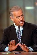 Senator Joe Biden discusses the situation in Kosovo during NBC's Meet the Press April 11, 1999 in Washington, DC.