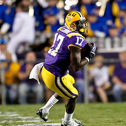 October 16, 2010; Baton Rouge, LA, USA; LSU Tigers cornerback Morris Claiborne (17) intercepts a pass against the McNeese State Cowboys during a game at Tiger Stadium. LSU defeated McNeese State 32-10. Mandatory Credit: Derick E. Hingle..