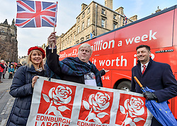 Pictured: Boris Johnson look-alike Drew Galdron with Edinburgh Labour councillors Cammy Day and Lezley Cameron.<br /> <br /> Campaigners demanding Britain stays in the EU took a 'brexit bus' to Edinburgh on Saturday, complete with a Boris Johnson look-alike to get their message accross.<br /> <br /> © Dave Johnston / EEm