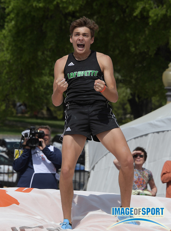 Mar 31, 2018; Austin, TX, USA; Armand Duplantis aka Mondo Duplantis of Lafayette High (La.) celebrates after setting a world junior record of 19-5 (5.92m) to place third in the pole vault during the 91st Clyde Littlefield Texas Relays at Mike A. Myers Stadium.