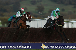 Double Treasure ridden by Gavin Sheehan (right) jumps the last with Two Taffs ridden by Davy Russell in the Royal Gloucestershire Hussars Novices' Steeple Chase during day two of the Showcase at Cheltenham Racecourse