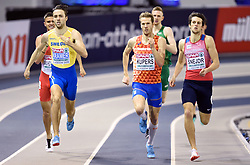 Sweden's Andreas Kramer (left) wins the 800m Men Heat 4 during day one of the European Indoor Athletics Championships at the Emirates Arena, Glasgow.