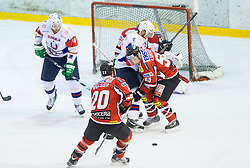 BOSTJAN GOLICIC of Slovenia vs Robert Lukas of Austria during Friendly Ice-hockey match between National teams of Slovenia and Austria on April 19, 2013 in Ice Arena Tabor, Maribor, Slovenia. (Photo By Vid Ponikvar / Sportida)
