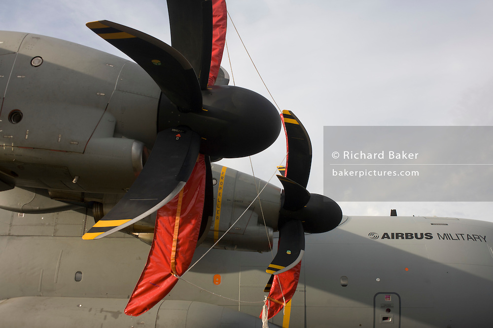 State-of-the-art propellers on the Airbus A400M at the Farnborough Airshow.