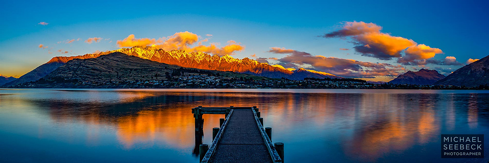 Last rays of sunlight hit the Remarkables Range, at sunset over Lake Wakatipu<br /> <br /> Limited Edition Print; Edition of 125