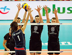 07.09.2014, Spodek, Katowice, POL, FIVB WM, Deutschland vs Süd Korea, Gruppe B, im Bild MYUNG GEUN SONG KOR MARCUS BOHME GER DENYS KALIBERDA GER // during the FIVB Volleyball Men's World Championships Pool B Match beween Germany and South Korea at the Spodek in Katowice, Poland on 2014/09/07. <br /> <br /> ***NETHERLANDS ONLY***