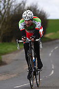 United Kingdom, Finchingfield, Mar 27, 2010:  Ian Short API - Metrow/Silverhook Chemicals approaches the 4 miles to go marker during the 'Jim Perrin' Memorial Hardriders 25.5 mile Sporting TT promoted by Chelmer Cycling Club. Copyright 2010 Peter Horrell.