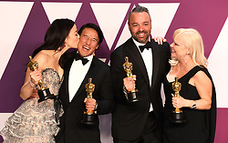 """Producers Elizabeth Chai Vasarhelyi, Jimmy Chin, Evan Hayes and Shannon Dill, winners of the Best Documentary Feature Award for """"Free SoloÓ at the 91st Annual Academy Awards (Oscars) presented by the Academy of Motion Picture Arts and Sciences.<br /> (Hollywood, CA, USA)"""