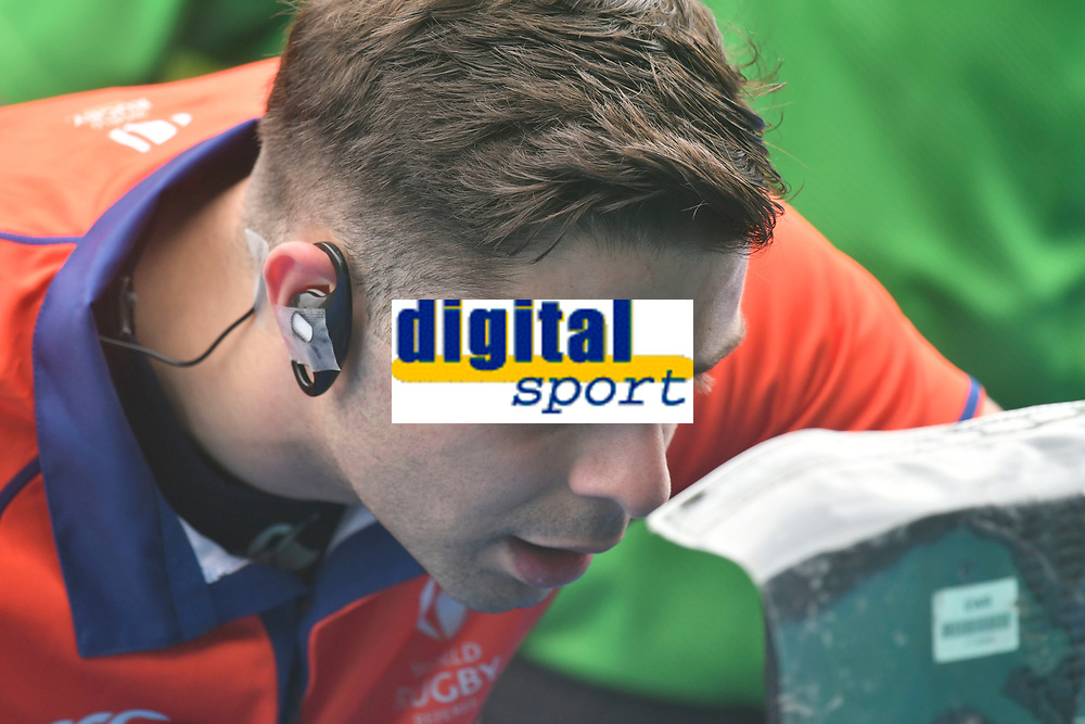 Rugby Union - 2021 U20 Six Nations - Round Two - England vs Scotland - Cardiff Arms <br /> <br /> referee stops the game to check a tv replay screen before sending off Lucas Brooke England Under 20s<br /> <br /> COLORSPORT/WINSTON BYNORTH