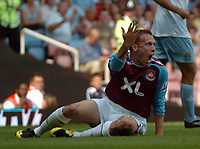 Photo: Tony Oudot. <br /> West Ham United v Manchester City. Barclays Premiership. 11/08/2007. <br /> Craig Bellamy of West Ham complains to the referee