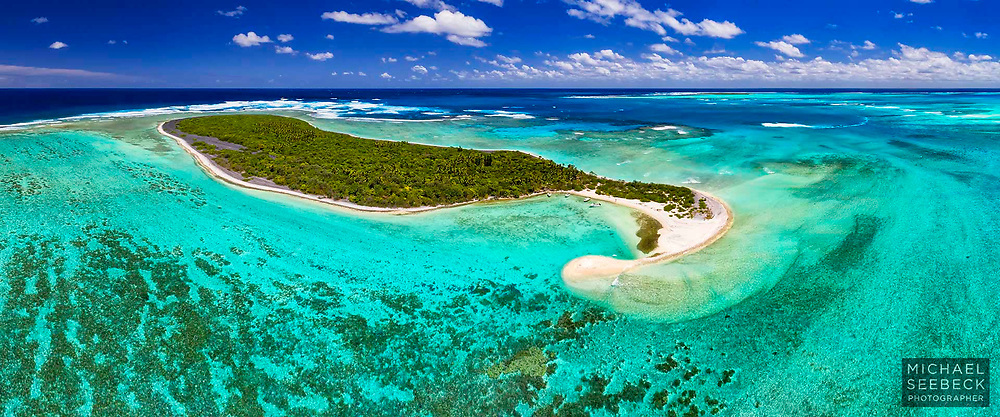 Amazing aqua colours of the shallow lagoon waters around Ile de Nuana, Isle of Pines, New Caledonia.<br /> <br /> Limited Edition of 125