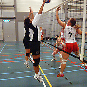 Volleybal Volleybal Gemeni S - Wilhelmina D2, smashen, net, bal, dames