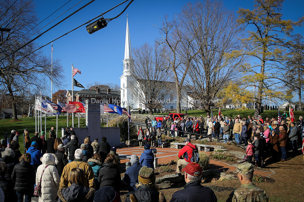(11/11/18, SOUTHBOROUGH, MA) A large crown gathers for the ceremony at the All Wars Memorial in Southborough on Veterans Day Sunday. [Daily News and Wicked Local Photo/Dan Holmes]