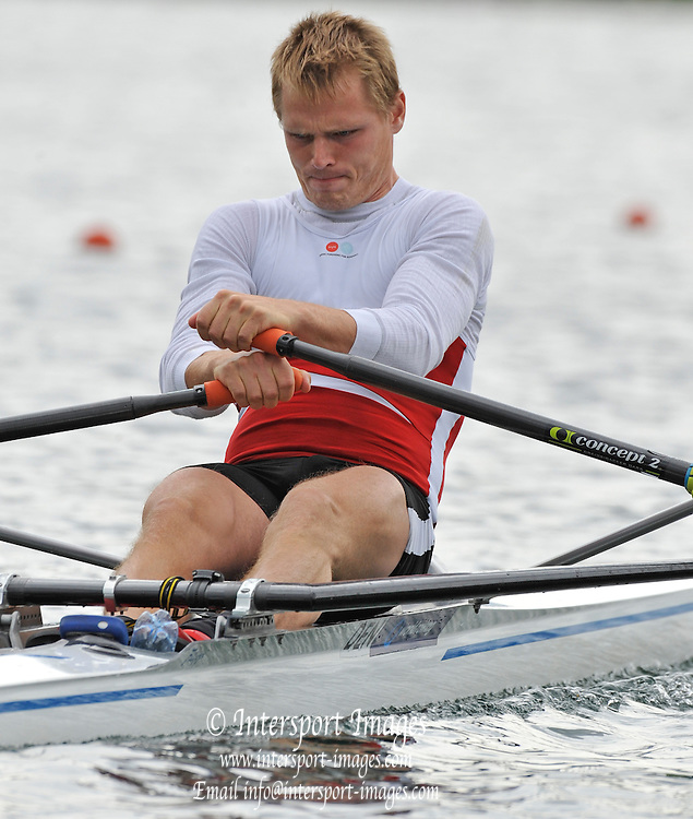Lucerne, SWITZERLAND.  DEN M1X. Henrik STEPHANSEN,  moves away from the start pontoon, 2012 FISA Olympic Qualifying Regatta on the Rotsee Rowing Course,  Sunday  20/05/2012  [Mandatory Credit Peter Spurrier/ Intersport Images]
