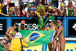 Brazilian teams Juliana-Larissa and Vivian Cunha-Taiana Lima posing to photographers at A1 Beach Volleyball Grand Slam tournament of Swatch FIVB World Tour 2010, final, on July 31, 2010 in Klagenfurt, Austria. (Photo by Matic Klansek Velej / Sportida)