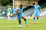 Udoka Godwin-Malife (22) of Forest Green Rovers on the attack during the Pre-Season Friendly match between Yeovil Town and Forest Green Rovers at Huish Park, Yeovil, England on 31 July 2021.