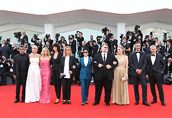 VENICE, Aug. 29, 2018  Competition jury president Guillermo Del Toro (4th R) and Kim Morgan (3rd R), and jury members pose on the red carpet of the 75th Venice International Film Festival in Venice, Italy, Aug. 29, 2018. The 75th Venice International Film Festival kicked off here on Wednesday. (Credit Image: © Cheng Tingting/Xinhua via ZUMA Wire)