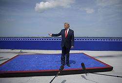 In this photo released by the National Aeronautics and Space Administration (NASA), United States President Donald J. Trump speaks at the Operations Support Building II after the launch of a SpaceX Falcon 9 rocket carrying the company's Crew Dragon spacecraft on NASA's SpaceX Demo-2 mission with NASA astronauts Robert Behnken and Douglas Hurley onboard, Saturday, May 30, 2020, at NASA's Kennedy Space Center in Florida. NASA's SpaceX Demo-2 mission is the first launch with astronauts of the SpaceX Crew Dragon spacecraft and Falcon 9 rocket to the International Space Station as part of the agency's Commercial Crew Program. The test flight serves as an end-to-end demonstration of SpaceX's crew transportation system. Behnken and Hurley launched at 3:22 p.m. EDT on Saturday, May 30, from Launch Complex 39A at the Kennedy Space Center. A new era of human spaceflight is set to begin as American astronauts once again launch on an American rocket from American soil to low-Earth orbit for the first time since the conclusion of the Space Shuttle Program in 2011. Photo by Bill Ingalls / NASA via CNP/ABACAPRESS.COM