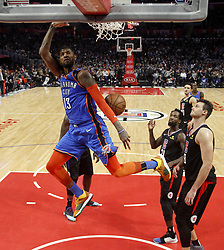 March 8, 2019 - Los Angeles, California, U.S - Oklahoma City Thunder's Paul George (13) dunks during an NBA basketball game between Los Angeles Clippers and Oklahoma City Thunder Friday, March 8, 2019, in Los Angeles. (Credit Image: © Ringo Chiu/ZUMA Wire)