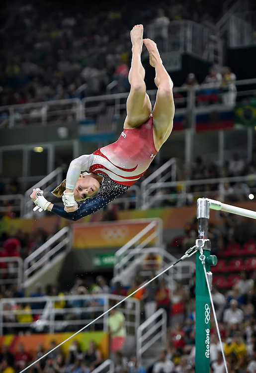 United States gymnast Madison Kocian dismounted from the uneven bars Tuesday in the women's team gymnastics final at the 2016 Summer Olympics Games in Rio de Janeiro, Brazil. The United States won the gold medal.
